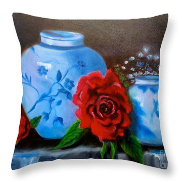 Throw Pillow featuring the painting Blue And White Pottery And Red Roses by Jenny Lee