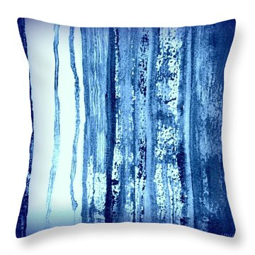 Blue And White Rainy Day Throw Pillow