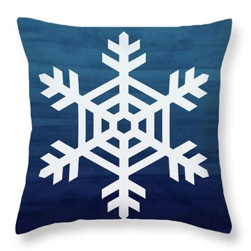 Blue And White Snowflake- Art By Linda Woods Throw Pillow