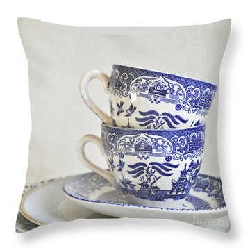 Blue And White Stacked China. Throw Pillow