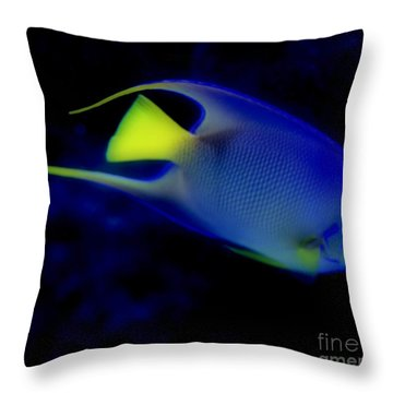 Blue And Yellow Fish Throw Pillow by Kathleen Struckle