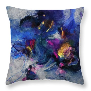 Throw Pillow featuring the painting Blue And Yellow Minimalist / Abstract Painting by Ayse Deniz