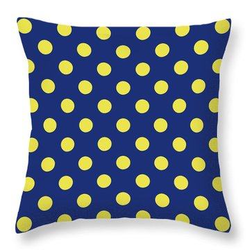 Throw Pillow featuring the mixed media Blue And Yellow Polka Dots- Art By Linda Woods by Linda Woods