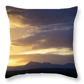 Blue And Yellow Sunset Throw Pillow by Aaron Spong