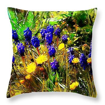 Blue And Yellow Wild Flower Medley Throw Pillow
