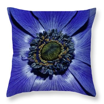 Blue Anemone Throw Pillow