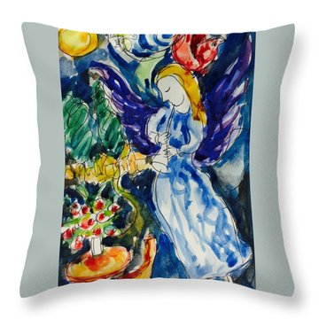 Blue Angel And Red Bird Throw Pillow by Hae Kim