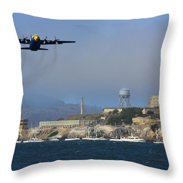Blue Angels C130 Fat Albert Passes Alcatraz Throw Pillow