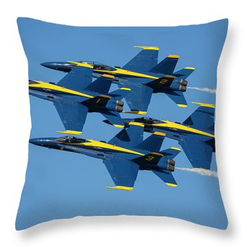 Throw Pillow featuring the photograph Blue Angels Diamond Formation by Adam Romanowicz