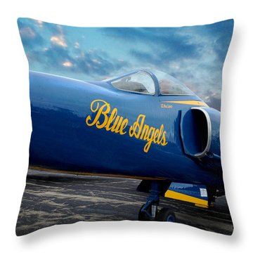Throw Pillow featuring the photograph Blue Angels Grumman F11 by Rod Seel
