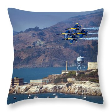 Blue Angels Over Alcatraz Throw Pillow