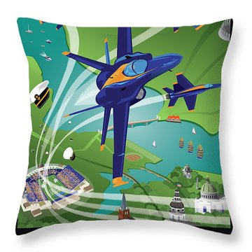 Blue Angels Over Usna Throw Pillow