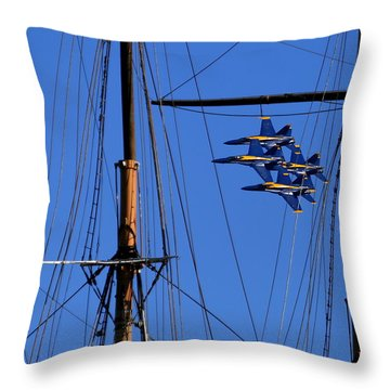 Blue Angels Pass Behind Masts Of The Balclutha At Hyde Street Pier Throw Pillow