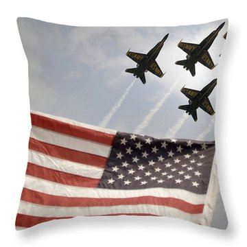 Throw Pillow featuring the photograph Blue Angels Soars Over Old Glory As They Perform The Delta Formation by Celestial Images