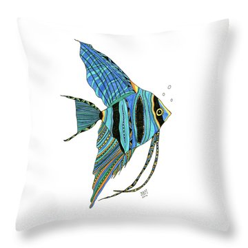 Blue Anglefish Throw Pillow