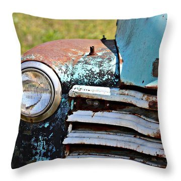 Blue Antique Chevy Grill- Fine Art Throw Pillow