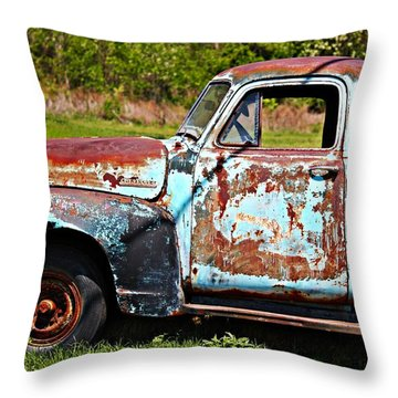 Blue Antique Chevy Truck- Fine Art Throw Pillow