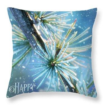 Blue Atlas Cedar Winter Holiday Card Throw Pillow