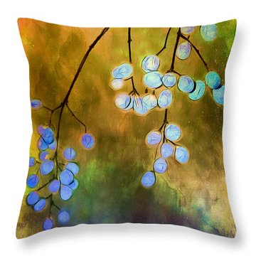 Blue Autumn Berries Throw Pillow