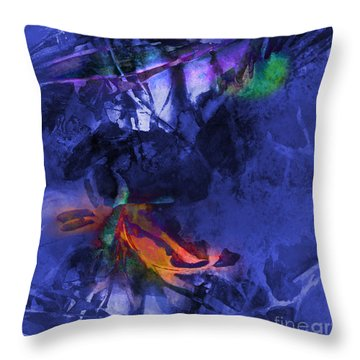 Blue Avatar Abstract Throw Pillow by Allison Ashton