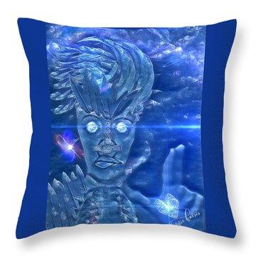 Blue Avian Throw Pillow by Vennie Kocsis