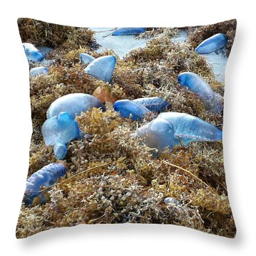 Seeing Blue At The Beach Throw Pillow