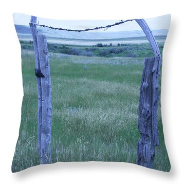 Blue Barbwire Throw Pillow