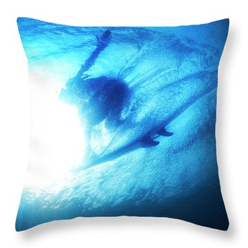 Blue Barrel Throw Pillow