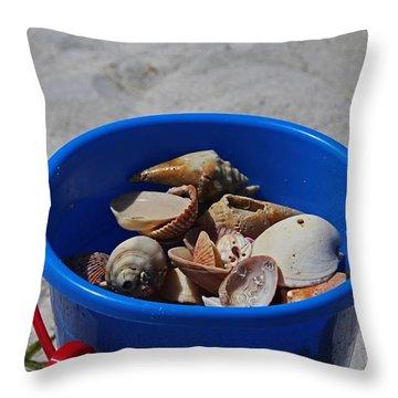 Throw Pillow featuring the photograph Blue Beach Bucket by Michiale Schneider