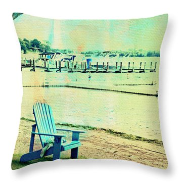 Throw Pillow featuring the photograph Blue Beach Chair by Susan Stone