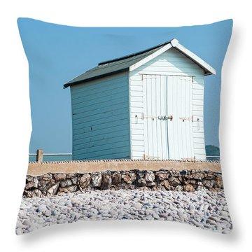 Blue Beach Hut Throw Pillow