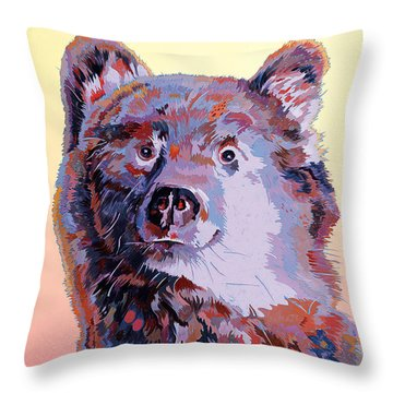 Blue Bear Throw Pillow by Bob Coonts