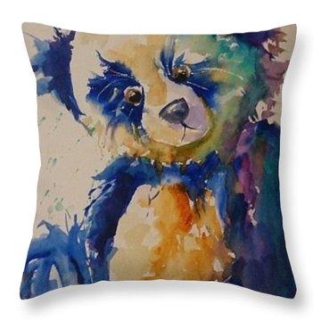 Blue Bear Throw Pillow