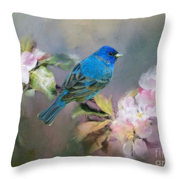 Blue Beauty In The Flowers Throw Pillow