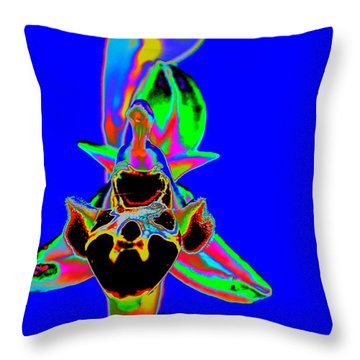 Blue Bee Orchid Throw Pillow