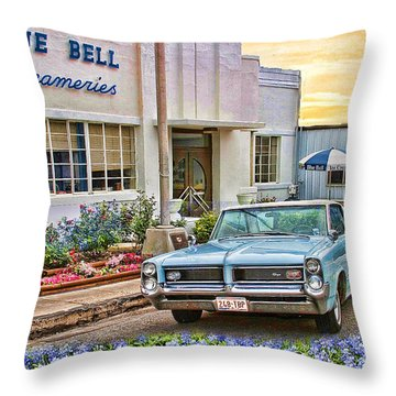 Blue Bell, Bluebonnets, And My Grand Prix Throw Pillow