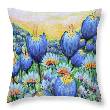 Throw Pillow featuring the painting Blue Belles by Holly Carmichael