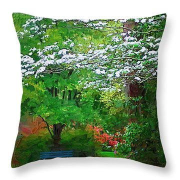 Throw Pillow featuring the photograph Blue Bench In Park by Donna Bentley