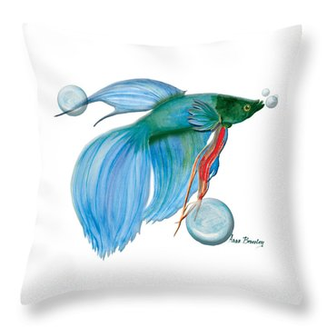 Throw Pillow featuring the painting Blue Beta Fish by Anne Beverley-Stamps