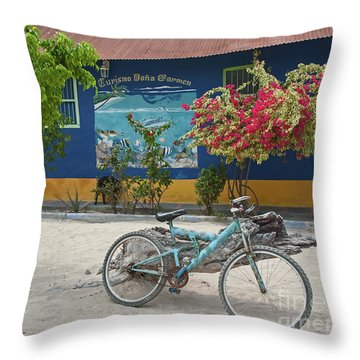 Blue Bicycle Throw Pillow