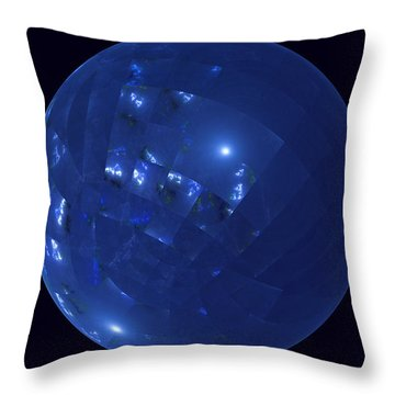Blue Big Sphere With Squares Throw Pillow
