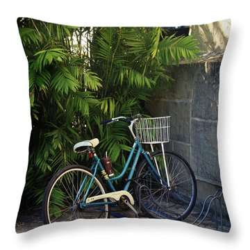 Blue Bike-  By Linda Woods Throw Pillow