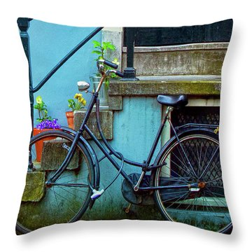 Blue Bike Throw Pillow by Jill Smith