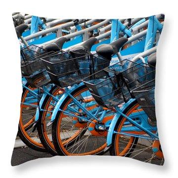 Blue Bikes Throw Pillow