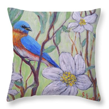 Blue Bird And Blossoms Throw Pillow