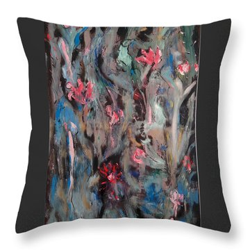 Blue Bird In Flower Garden Throw Pillow