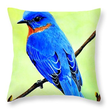 Blue Bird King Throw Pillow
