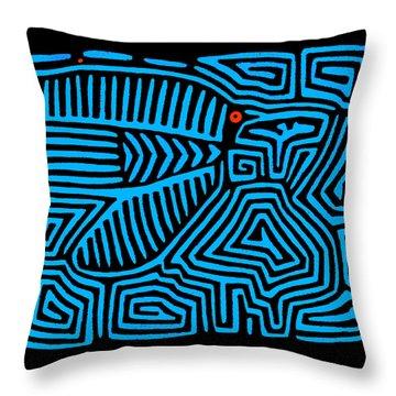 Throw Pillow featuring the digital art Blue Bird Mola by Vagabond Folk Art - Virginia Vivier