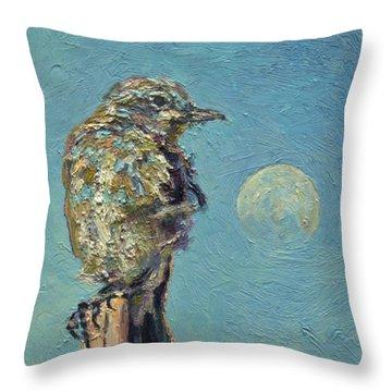 Blue Bird Moon Throw Pillow