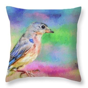 Blue Bird On Color Throw Pillow